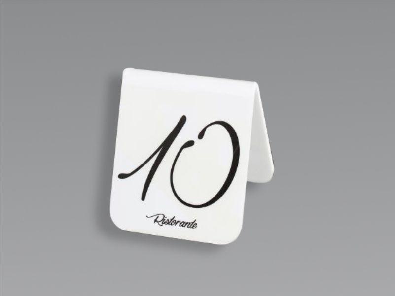 Segnaposti da tavolo in plexiglass bianco con stampa nera