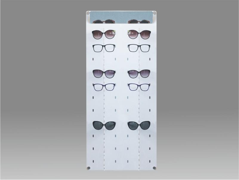 espositore per occhiali da parete a 22 postazioni, plexiglass bianco