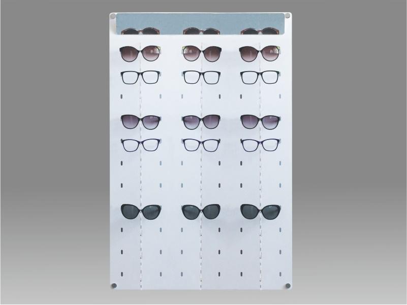 espositore per occhiali da parete a 33 postazioni, plexiglass bianco