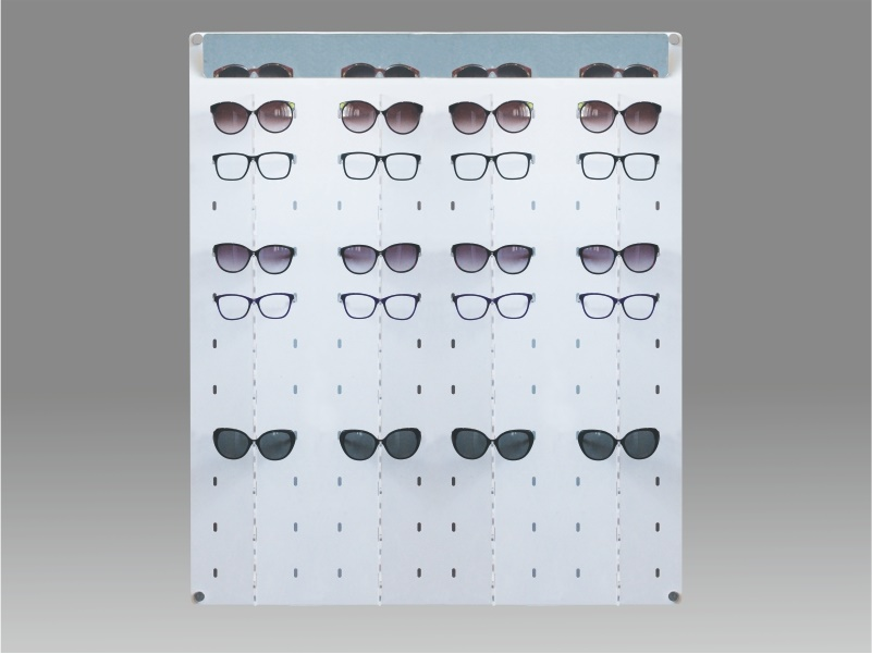 espositore per occhiali da parete a 44 postazioni, plexiglass bianco