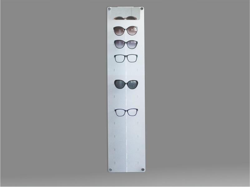 espositore per occhiali da parete a 11 postazioni, plexiglass satinato