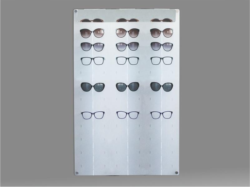 espositore per occhiali da parete a 33 postazioni, plexiglass satinato