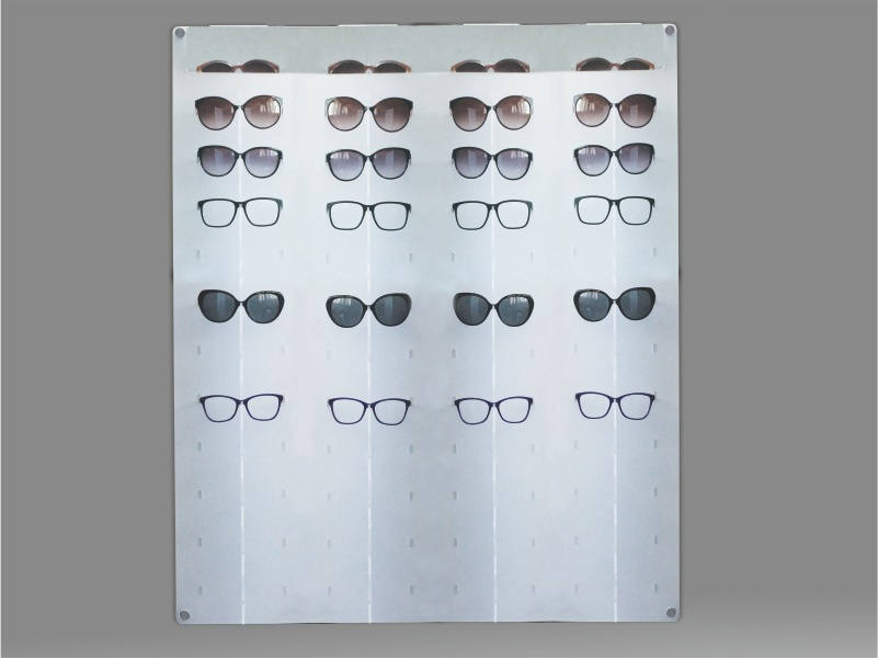 espositore per occhiali da parete a 44 postazioni, plexiglass satinato