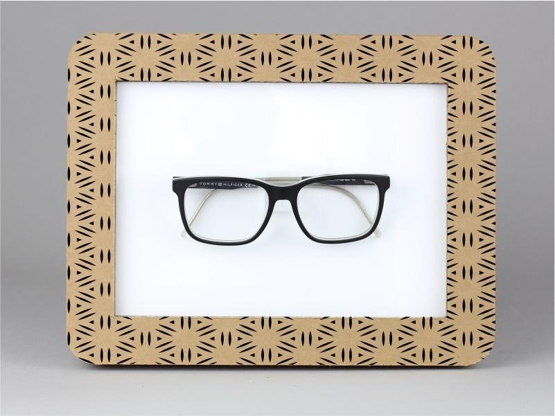espositore per occhiale da banco e parete in cartone tripla onda avana