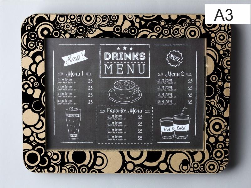espositore porta menu, foto, comunicazioni in cartone color avana x formato a3