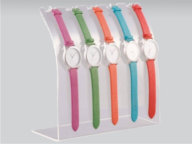 espositore per 5 orologi da banco in plexiglass trasparente